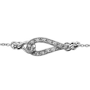 Bracelet en argent rhodié chaîne avec goutte évidée ornée d\'oxydes blancs sertis et avec un élément tournant de chaque côté au milieu - longueur 16cm + 3cm de rallonge - Vue 1