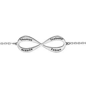 Bracelet en argent rhodié chaîne avec infini à graver 3 ou 4 prénoms - longueur 16cm + 3cm de rallonge - Vue 1