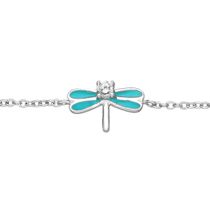 Bracelet en argent rhodié chaîne avec libellule turquoise et oxydes blancs sertis 13+4cm - Vue 1