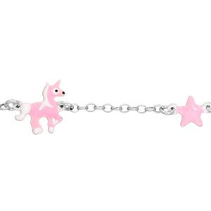 Bracelet en argent rhodié chaîne avec licorne et étoile rose 14+2cm - Vue 1