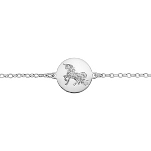 Bracelet en argent rhodié chaîne avec licorne martelée sur galet 16cm + 3cm - Vue 1