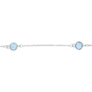 Bracelet en argent rhodié chaîne avec 3 opales bleues rondes véritable 16,5+3cm - Vue 1