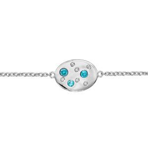 Bracelet en argent rhodié chaîne avec ovale orné d\'oxydes blancs et bleu ciel disséminés - longueur 16cm + 3cm de rallonge - Vue 1