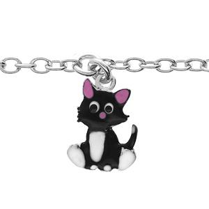 Bracelet en argent rhodié chaîne avec pampille chat et motifs infini 12,5+3cm - Vue 1