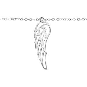 Bracelet en argent rhodié chaîne avec pampille longue aile ajourée - longueur 16cm + 3cm de rallonge