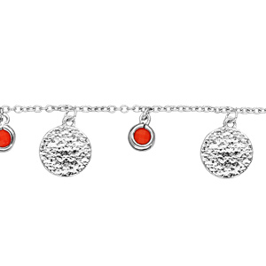 Bracelet en argent rhodié chaîne avec pampilles perles couleur corail et pampilles antiques 16+2cm - Vue 1