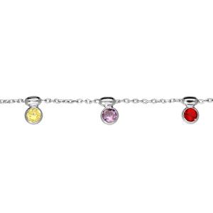 Bracelet en argent rhodié chaîne avec pampilles pierres multi couleurs 16+3cm - Vue 1