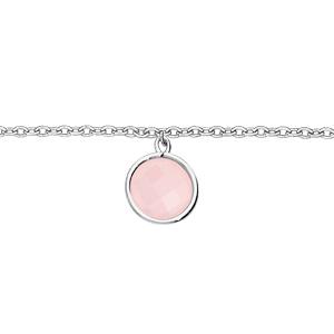 Bracelet en argent rhodié chaîne avec pastille pierre ronde rose 16+2cm - Vue 1