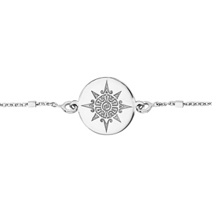 Bracelet en argent rhodié chaîne avec pastille soleil stylisé 17+3cm - Vue 1
