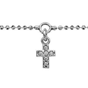 Bracelet en argent rhodié chaîne boules avec pampille croix ornée d'oxydes blancs sertis - longueur 16cm + 3cm de rallonge
