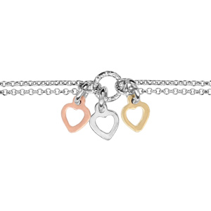 Bracelet en argent rhodié chaîne doublée avec au milieu 1 anneau avec 3 pampilles coeurs, 1 rose, 1 gris et 1 jaune - longueur 16,5cm + 3cm de rallonge - Vue 1