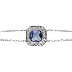 Bracelet en argent rhodié chaîne doublée avec au milieu 1 oxyde carré bleu et contours en oxydes blancs - longueur 16cm + 3,5cm de rallonge