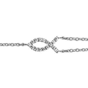 Bracelet en argent rhodié chaîne doublée avec poisson chrétien orné d oxydes  blancs sertis au milieu ... 0d727b0661df
