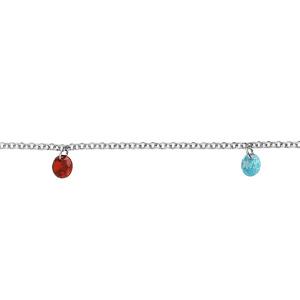 Bracelet en argent rhodié chaîne et 5 pampilles multicolores longueur 17+2cm - Vue 1