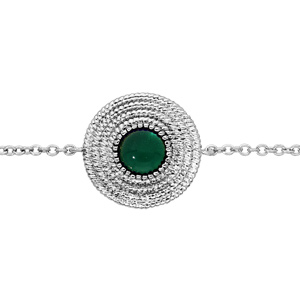 Bracelet en argent rhodié chaîne ethnique rond avec pierre verte 16+2cm - Vue 1