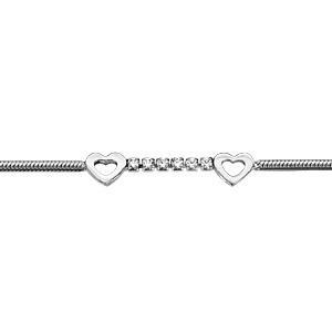 Bracelet en argent rhodié chaîne maille pop-corn avec au milieu 1 rail d\'oxydes blancs sertis entouré de 2 coeurs évidés - longueur 16cm + 3cm de rallonge - Vue 1
