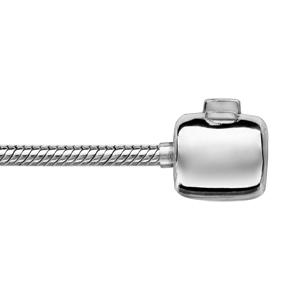 Bracelet en argent rhodié chaîne tube serpent pour charms - longueur 21cm fermoir haut de gamme - Vue 1