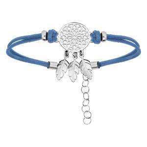 Bracelet en argent rhodié cordon bleu ciel et attrape rêve 16+3cm - Vue 1