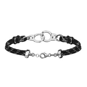 Bracelet en argent rhodié cordon doublé noir finement moucheté gris avec menottes au milieu - longueur 18cm + 4cm de rallonge - Vue 1