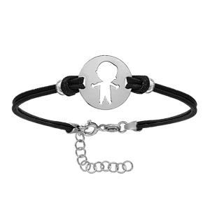 Bracelet en argent rhodié cordon doublé noir interchangeable avec plaque ronde avec 1 petit garçon découpé - longueur 14cm + 3cm de rallonge - Vue 1
