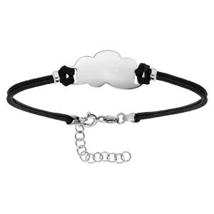Bracelet en argent rhodié cordon double noir interchangeable avec rondelle en forme nuage decoupé longueur 14+3cm - Vue 1