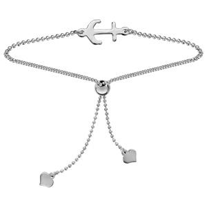 Bracelet en argent rhodié coulissant chaîne boule ancre marine - Vue 1