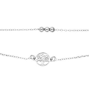 Bracelet en argent rhodié double chaîne arbre de vie et boules 16+3cm - Vue 1