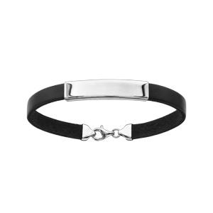 Bracelet en argent rhodié et cuir noir avec plaque d\'identité 20cm - Vue 1