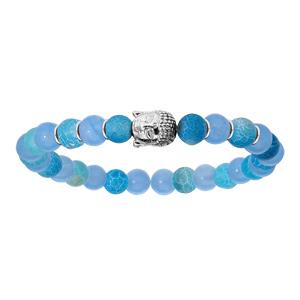 Bracelet en argent rhodié extensible avec boules quartz bleu clair et tête de Bouddha - Vue 1