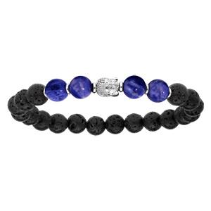 Bracelet en argent rhodié extensible avec pierre de lave, boules de quartz bleu et tête de Bouddha - Vue 1