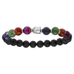 Bracelet en argent rhodié extensible avec pierres de lave, boules de quartz multicouleur et tête de Bouddha - Vue 1