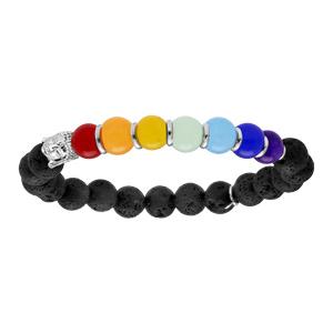 Bracelet en argent rhodié extensible avec pierres de lave et jadéite couleur chakra et tête de Bouddha - Vue 1