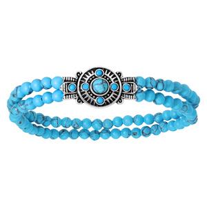 Bracelet en argent rhodié extensible motif éthnique avec boules turquoises de synthése - Vue 1