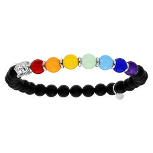 Bracelet en argent rhodié extensibleavec boules en pierres onyx et jadéite couleur chakra et tête de Bouddha - Vue 1