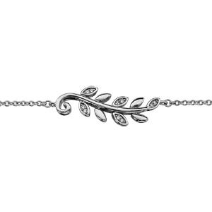 Bracelet en argent rhodié feuillage lisse et oxydes blancs 16cm + 2cm - Vue 1
