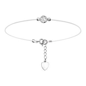 Bracelet en argent rhodié fil nylon avec1 oxyde blanc serti clos 5mm 16+3cm - Vue 1