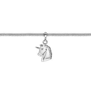 Bracelet en argent rhodié maille milanaise pampille tête de licorne 16cm + 3cm - Vue 1