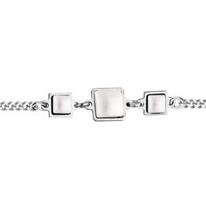Bracelet en argent rhodié pierres blanches en verre de Swarovski carrées 16+3cm - Vue 1