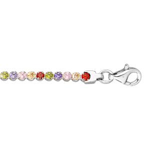 Bracelet en argent rhodié rangée d\'oxydes multi couleurs 16+3cm - Vue 1