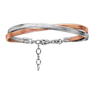 Bracelet en argent rhodié 2 rangs, 1 gris et l\'autre rose - longueur 17cm + 3cm de rallonge - Vue 1