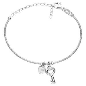Bracelet en argent rhodié semi rigide avec pampilles coeur et clef réglable - Vue 1