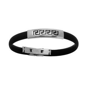 Bracelet en caoutchouc avec partie en acier avec méandres grecs gravés en noir au milieu - Vue 1