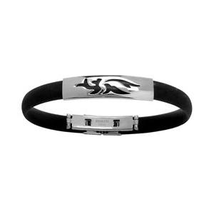 Bracelet en caoutchouc avec partie en acier avec motif tribal gravé en noir au milieu - Vue 1