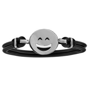 Bracelet en caoutchouc avec smiley en argent \