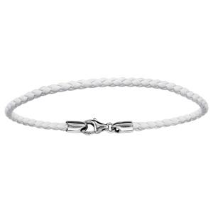 Bracelet en cuir blanc tressé pour charms et fermoir en argent rhodié - longueur 19,5cm - Vue 1