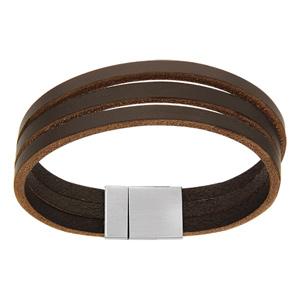Bracelet en cuir marron 3 brins plats et fermoir en acier aimanté - longueur 19,5cm - Vue 1
