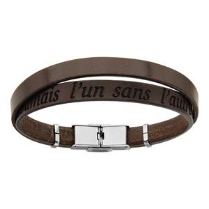 Bracelet en cuir marron et acier 2 tours avec message caché