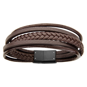 Bracelet en cuir marron plusieurs fils dont 1 tressé, 2 ronds et 2 plats et acier - longueur 20cm
