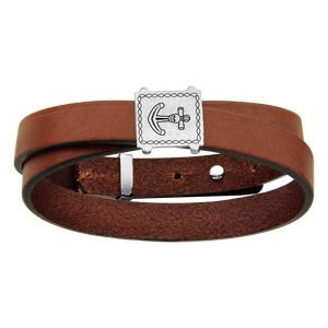 640b0a0a766fb ... Bracelet en cuir marron ruban enroulé avec plaque en argent rhodié avec  gravure ancre de marine