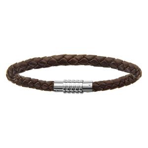 Bracelet en cuir marron tressé pour charms homme et fermoir en acier aimant et vis - longueur 19,50 cm - Vue 1